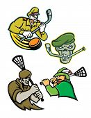 Mascot icon illustration set of lacrosse and ice hockey military and warrior mascots  of an army general, green beret skull, green archer and commando special forces on isolated background in retro style. poster