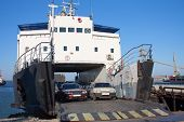 ferryboat with cars in harbor. train ferry between port Crimea Kerch Ukraine and port Caucasus Russia poster