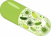 Capsules with green probiotics bacteria. Concept of healthy nutrition ingredient for therapeutic purposes. Vector Illustration on white background poster