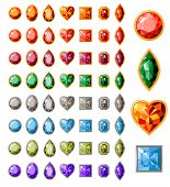 Big collection of different jewels on white poster