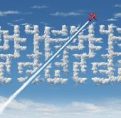 Business leader concept as strategic innovative success thinking as a plane finding a short cut to a cloud maze with 3D illustration elements. poster