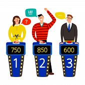 Quiz show. Answering people on quiz game vector illustration, gaming show with questions and answers, standing persons and buttons on buzzers isolated on white poster