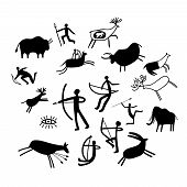 Cave painting. Stone paintings vector illustration, cave wall ancient prehistoric primitive rock drawings isolated on white background poster