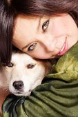 woman hug the dog, close up, studio shot poster