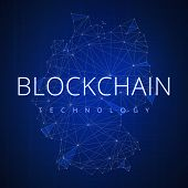 Blockchain technology wording on futuristic hud background with polygon Germany map and blockchain peer to peer network. Network, e-business and cryptocurrency blockchain business banner concept. poster