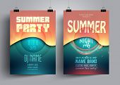Summer party flyer or poster layout template with background from colorful waves. Musical electro concert in the style of house,dubstep,techno,minimal,trance,Drum and Bass,Indie rock. poster