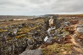 Thingvellir landscape, fault lines making rift valleys as a result of continental drift poster