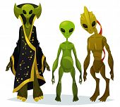 Cartoon aliens staring or funny extraterrestrial standing, monster from cosmos with bathrobe, UFO character from outer space, fiction invader or abduction creature. Sci-fi and mystery, universe theme poster