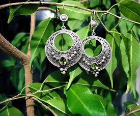 Women Ethnic Silver Earrings Peridot Gemstone Jewelry Nature Tree Leaf Photo