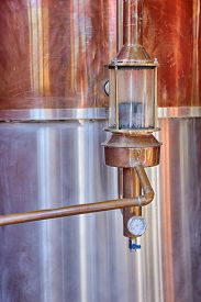 Alcohol Copper Still Alembic With Control Gauge Closeup Inside Distillery