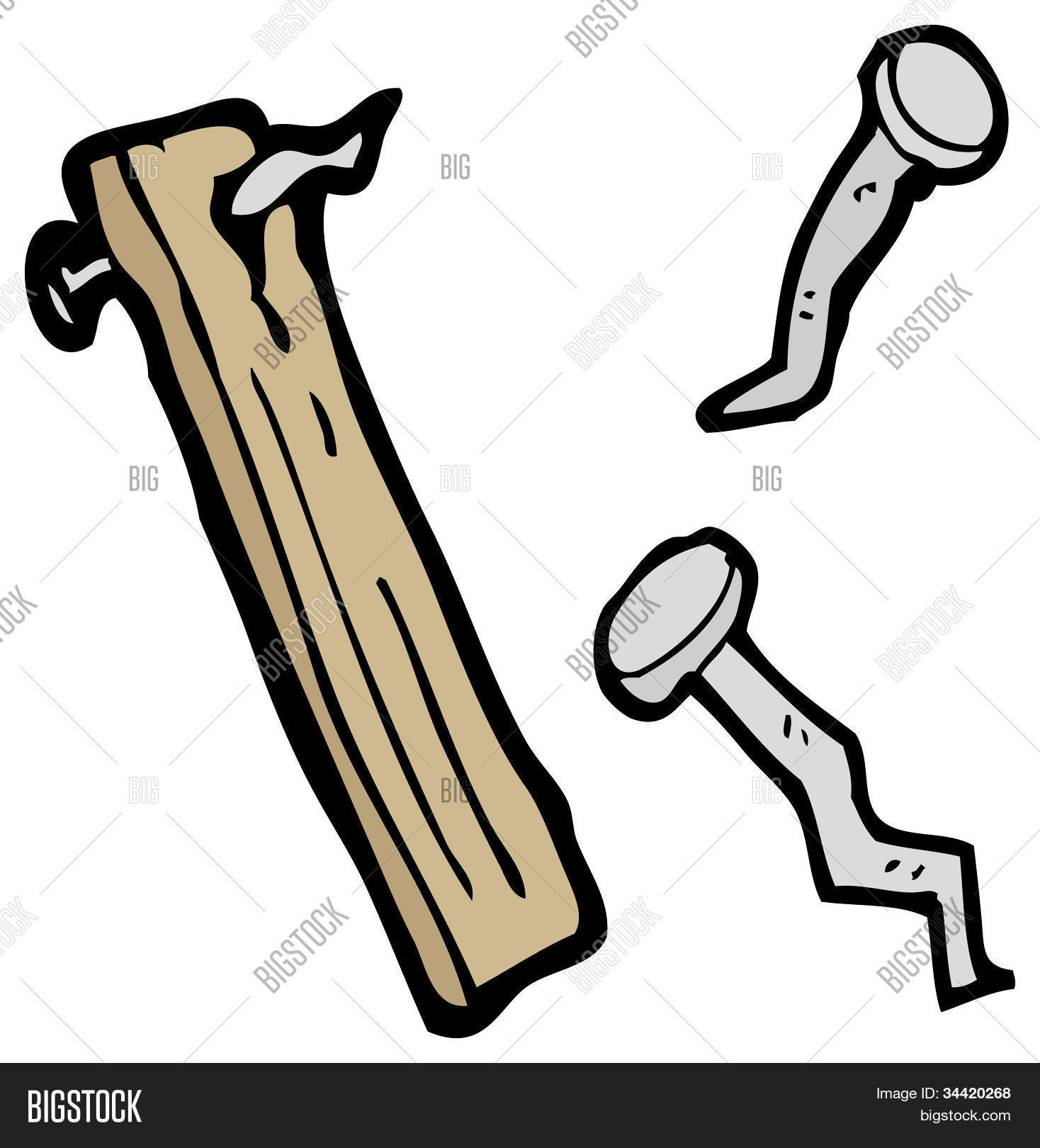 Cartoon Old Wood Plank And Nails