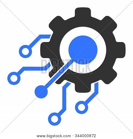 Digital Integration Gear Vector Icon. Flat Digital Integration Gear Symbol Is Isolated On A White Ba
