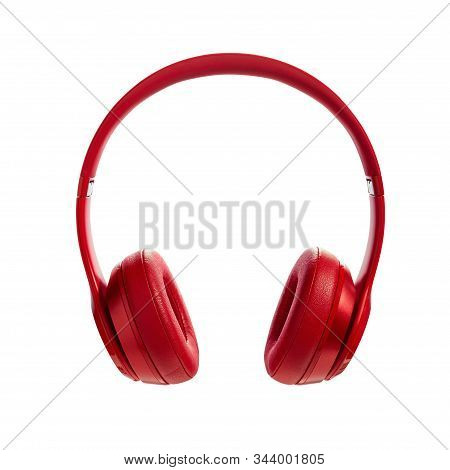 Red Wireless Headphone On White Background. Headphones Isolated On A White Background, Product Photo