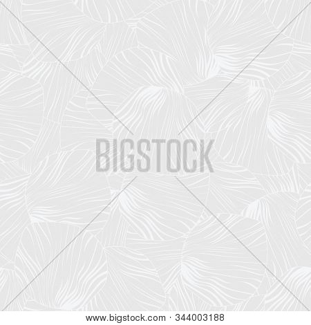 Vector White Swirling Lines On Ligth Gray Background Seamless Repeat Pattern. Background For Textile
