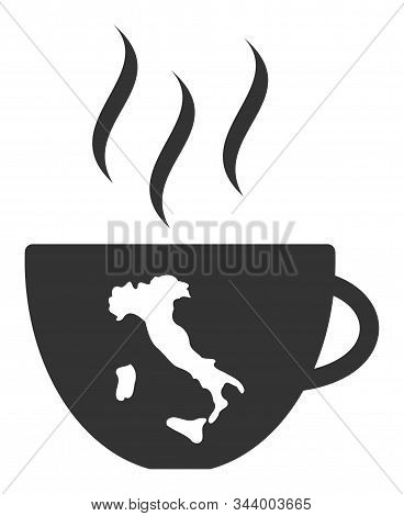 Italian Coffee Cup Vector Icon. Flat Italian Coffee Cup Symbol Is Isolated On A White Background.