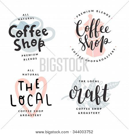 Coffee Shop Or Bar Logotypes, Isolated Vector Labels, Trendy Pastel Colored Illustrations, Lettering