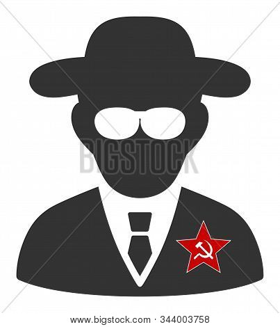 Kgb Spy Vector Icon. Flat Kgb Spy Symbol Is Isolated On A White Background.
