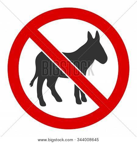 No Donkey Vector Icon. Flat No Donkey Symbol Is Isolated On A White Background.