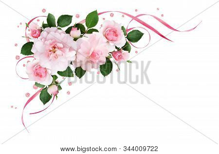 Pink Rose Flowers, Satin Ribbons And Glitter Confetti In A Floral Corner Arrangement Isolated On Whi