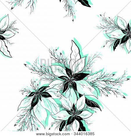 Seamless Vector Flower Pattern. Realistic Hand-drawn Doodles. Modern Background Of Winter Flowers (p