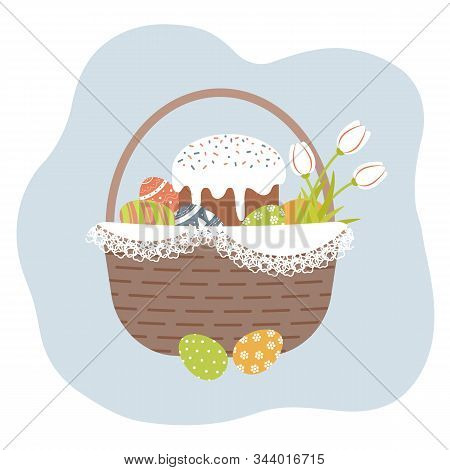 Easter Basket With Cute Decorated Easter Eggs,kulich And Tulips On White Openwork Vintage Doily. Col