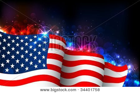 illustration of American Flag on abstract glowing background