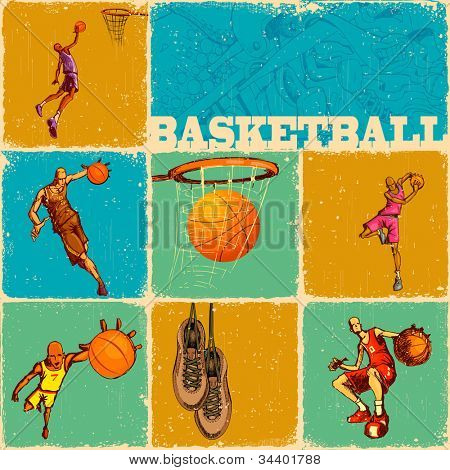 illustration of different basket ball action in collage background