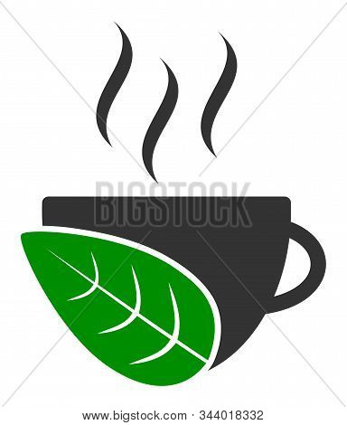Organic Coffee Cup Vector Icon. Flat Organic Coffee Cup Pictogram Is Isolated On A White Background.