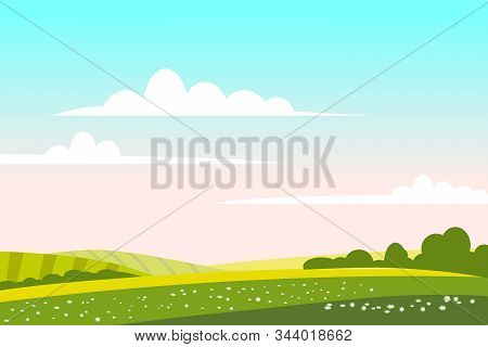 Countryside Landscape Green Hill. Panorama Nature Fields Blue Sky Clouds Sun Rural. Green Tree And G
