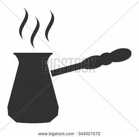Turkish Coffee Vector Icon. Flat Turkish Coffee Symbol Is Isolated On A White Background.