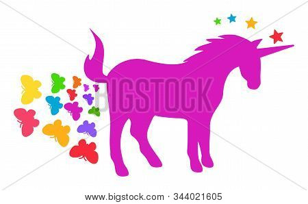 Unicorn Farting Butterflies Vector Icon. Flat Unicorn Farting Butterflies Pictogram Is Isolated On A