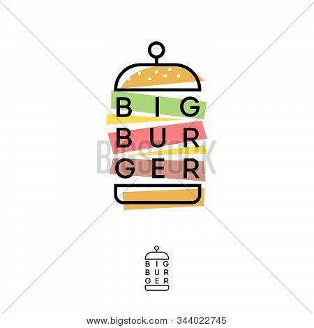 Burger Hub Logo. Burger Restaurant Emblem Like Applique. Linear Flat Logo With  Color Elements Cut O