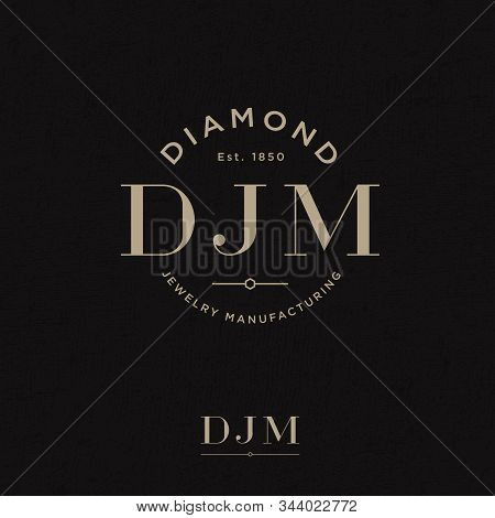 Diamond Jewelry Manufacturing Logo. D, J And M Monogram On A Circle. Gold And Silver Jewelry Logo. P