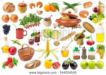 Collection diverse healthy products isolated on white background.