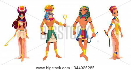 Ancient Egypt Gods And Rulers Hathor, Ra, Pharaoh, Nefertiti, Egyptian Deities, King And Queen With