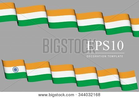 Waving Banners In Colors Of India Flag Orange, Green, White, Two Ribbons In Style Of Country Flag -