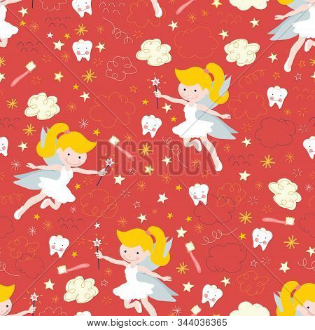 Tooth Fairy Seamless Kids Vector Background. Cute Fairies With Wand, Teeth, Toothbrush, Stars And Cl