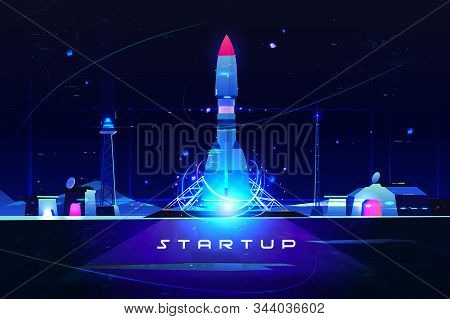Startup Rocket, Launch Of Marketing Idea, New Company Launching . Business Development And Advanced