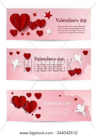 Valentines Day card design set. Valentine day, Valentine's Day background, Valentine's day banners, Valentine's Day flyer, Valentines Day design, Valentines Day with Heart on black background, Copy space text area, vector illustration. Valentines day back