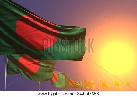 Nice Any Occasion Flag 3d Illustration  - Many Bangladesh Flags Placed Diagonal On Sunset With Place