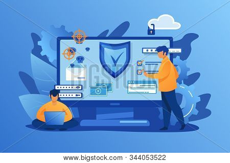 Personal Digital Security. Defence, Protection From Hackers, Scammers Flat Vector Illustration. Data