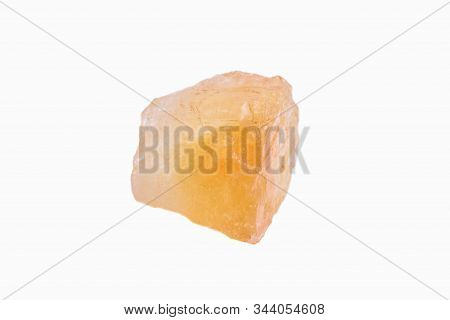 Citrine Mineral Stone Isolated On White Background. The Concept Of Meditation.