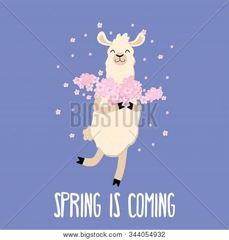 Spring Is Coming Cute Card With Funny Llama
