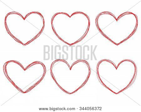 Vector Collection Of Red Hand-drawn Hearts On White Background