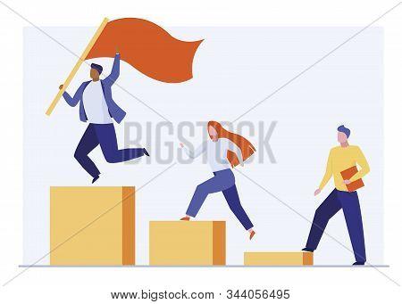 Leader Winning Business Competition. Winner, Flag, Podium, Competitors Flat Vector Illustration. Lea