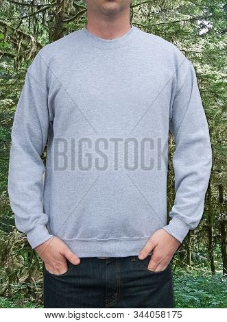 Guy Sweatshirt Mockup Gray Sweatshirt With Room For Text Or Design With A Forest Background.  Clothi