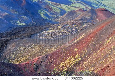 Colorful Landscape Of Etna National Park, Catania, Sicily, Italy.