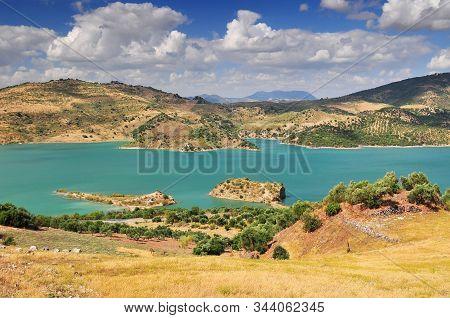 Panoramic View Over Embalse De Zahara Inland Lake, Andalusia, Spain.