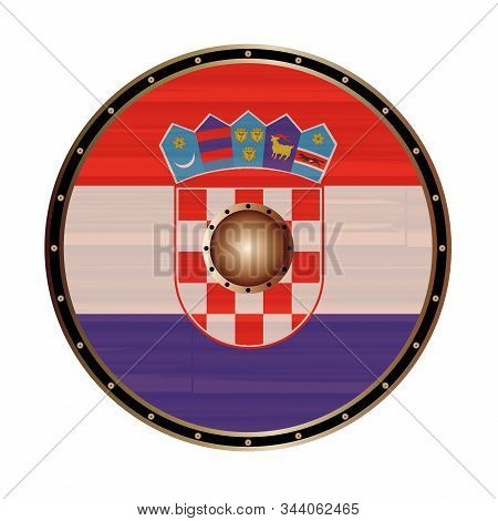 A Viking Style Round Shield With The Croatian Flag Color Design Isolated On A White Background