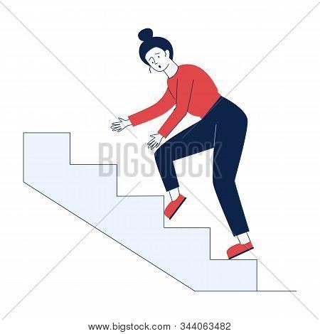 Clumsy Woman Stumbling Over Step. Cartoon Character Walking Upstairs Flat Vector Illustration. Injur